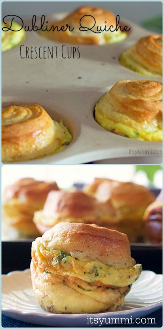 Dubliner Quiche Crescent Cups from ItsYummi.com ~ Fluffy quiche is filled with veggies and Kerrygold cheese, then topped with crescent rolls...
