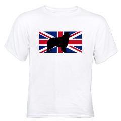 border collie silhouette flag T-Shirt > Border Collie > Paw Prints #dog #pet #AKC #BorderCollie #ScottishSheepDog #Sheepdog #UnitedKingdom