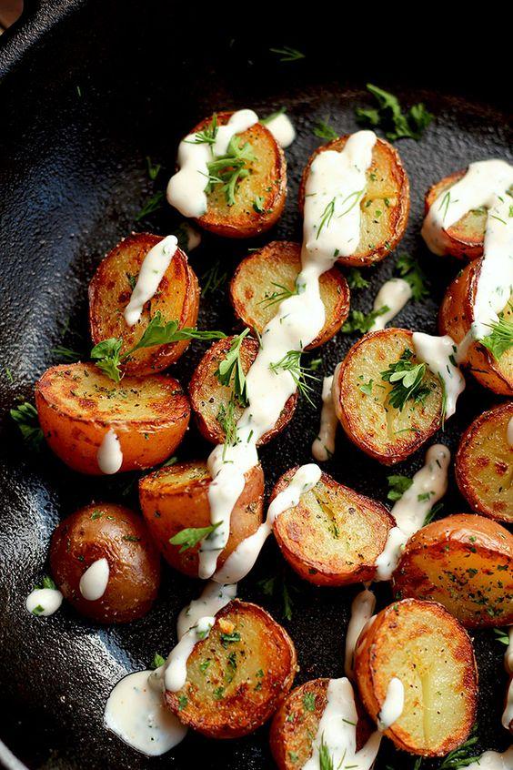 Crispy Potatoes with Vegan Ranch Dressing - ilovevegan.com
