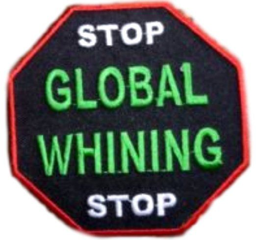 "[Single Count] Custom and Unique (3"" Inches) Octagon Adult Humor Stop Global Whining Iron On Embroidered Applique Patch {Red, White, Green & Black Colors}"