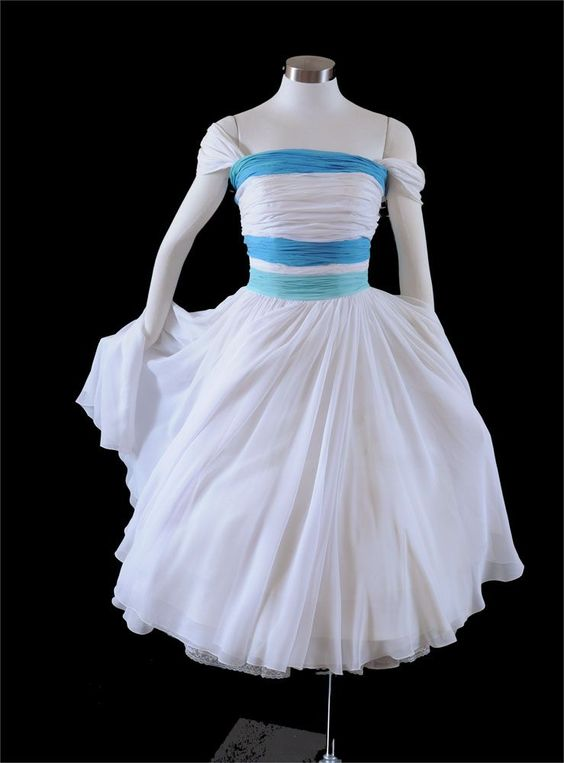 vintage 50's white blue stripes tea length wedding dress $395