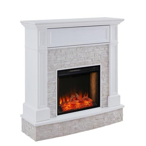 Boston Loft Furnishings 48 In W White With Rustic White Riverstone Fan Forced Electric Fireplace Lowes Com In 2020 Faux Stone Fireplaces Electric Fireplace Fireplace Console