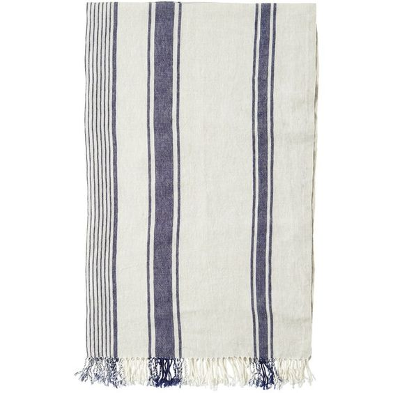 Toast Striped Linen Beach Towel (£85) ❤ liked on Polyvore featuring home, bed & bath, bath, beach towels, linen beach towel, stripe beach towel and striped beach towels