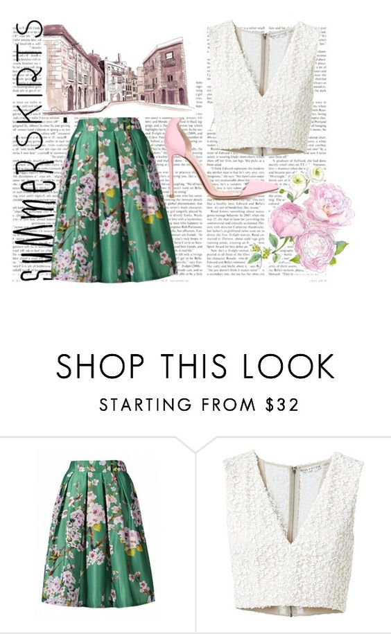 """Floral Summers"" by rosiemgarcia ❤ liked on Polyvore featuring Alice + Olivia, Gianvito Rossi and floraskirts"