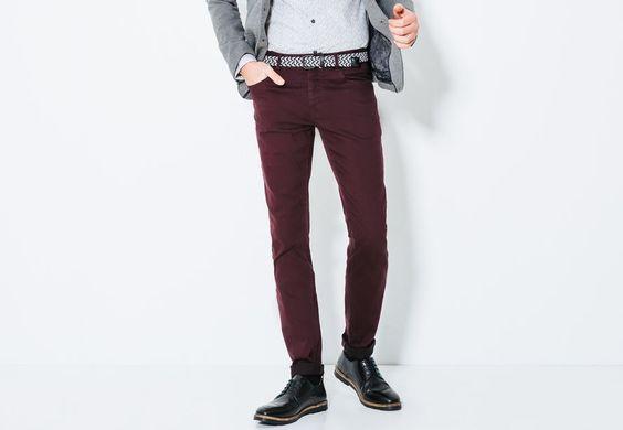 Pantalon 5 poches slim Prune Homme - Jules