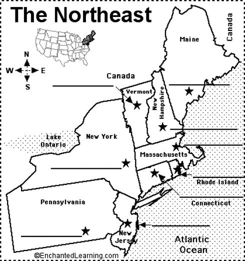 Northeast Us Map With Capitals States And Capitals For The Northeast Blank Map Northeast Region