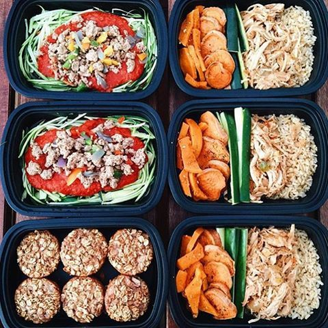 These meals by @trackingisthenewblack look so tasty and delicious! She has turkey Bolognese zoodles, pulled turkey with brown rice, sweet potatoes & veggies, and pear oatmeal muffins. - Create a healthy balance with your meals – download @mealplanmagic to make sure you're getting all the nutrients you need!