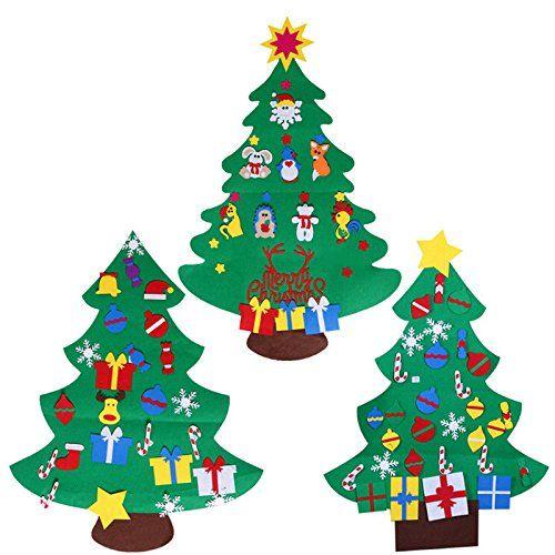 Amazon Com Felt Christmas Tree Craft Kit 3 9ft 26 Ornaments Door Wall Hangin Felt Christmas Tree Diy Felt Christmas Tree Felt Christmas Ornaments