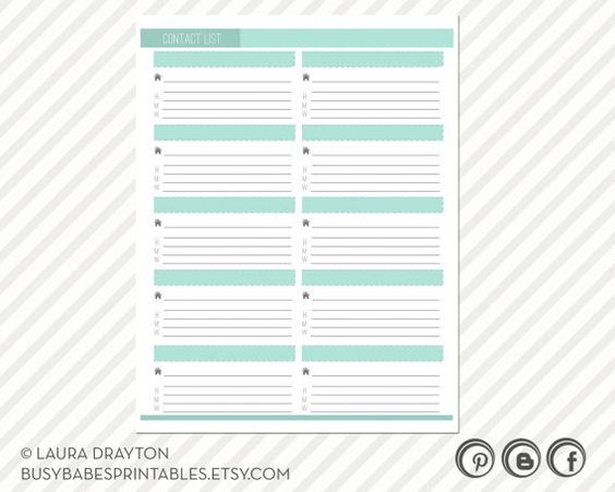 Contact List Printable includes five by busybabesprintables – Printable Contact List