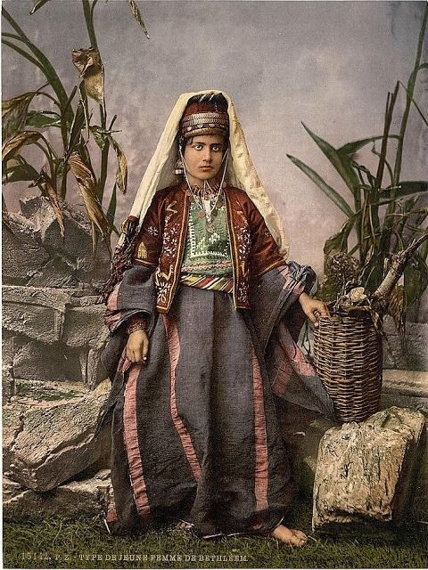 Artafar Middle East In Early Photochromes Young Woman In Bethlehem Palestine Lovers Art Palestine History Palestinian Costumes
