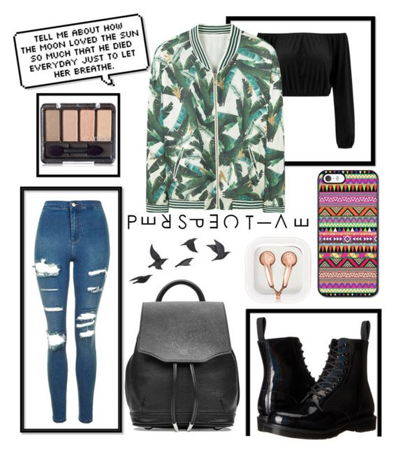 """""""🌑🌓🌔☀"""" by alexandraanton ❤ liked on Polyvore featuring Topshop, MANGO, Dr. Martens, rag & bone, claire's, Jayson Home and jeans"""