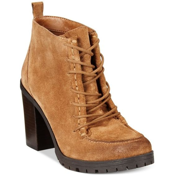 Circus by Sam Edelman Denver Stack Heel Ankle Booties ($75) ❤ liked on Polyvore featuring shoes, boots, ankle booties, deep saddl, short lace up boots, laced up booties, stacked heel ankle boots, lace up boots and laced boots