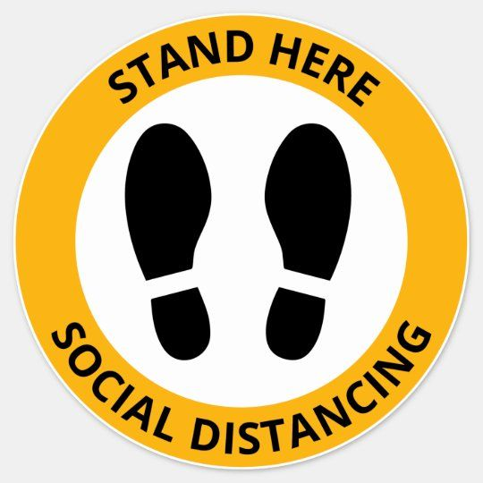 Stand Here Social Distancing Footprint Modern Sticker Zazzle Com School Signs Happy Birthday Signs Colorful Borders Design