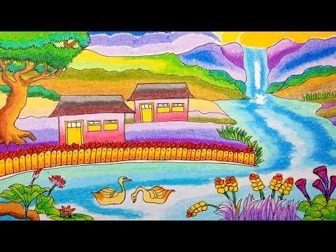 Cara Menggambar Rumah Sederhana Dan Sungai Di Pegunungan Dengan Crayo Oi Proyek Seni Cara Menggambar Gambar