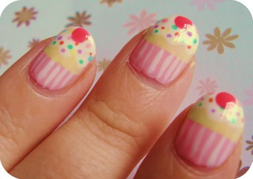 Cupcake Nails #cute #kawaii #nails #cupcakes #pink #yellow #stripes #nails #nailart   @