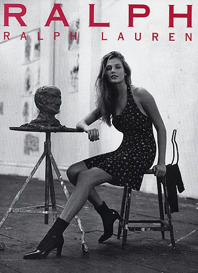 1995 Ralph Lauren RRL Bridget Hall fashion MAGAZINE AD  | eBay