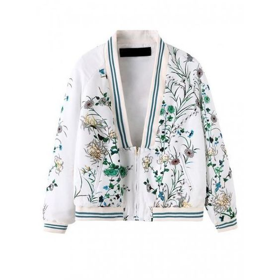 White Phoenix Printing Embroidery Wild Fashion Casual Jacket$49 (€44) ❤ liked on Polyvore featuring outerwear, jackets, udobuy, coats, white jacket, embroidered jackets and embroidery jackets