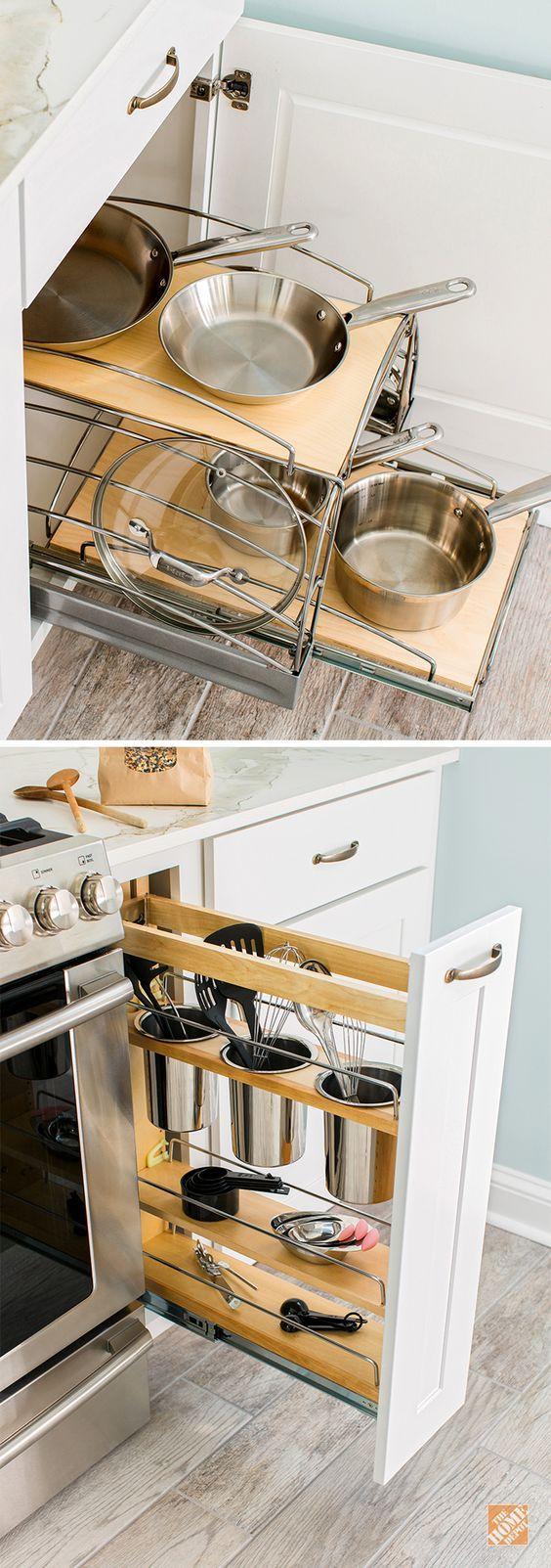 Kitchen storage solutions thomasville cabinets and for Small kitchen wall storage solutions