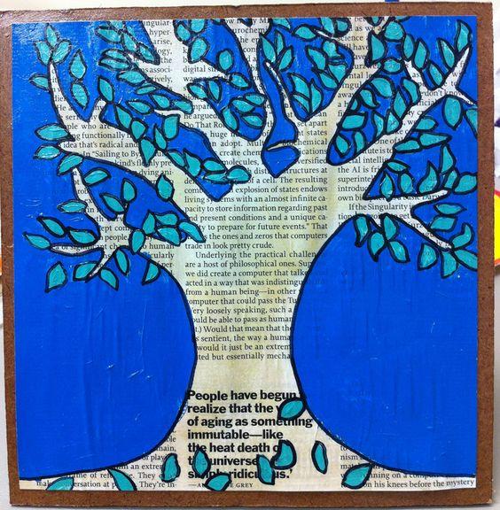 Sur papier journal dessiner un arbre et demander ne for Peut t on peindre sur du papier peint