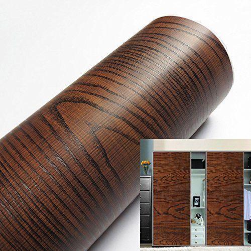 Adhesive Acacia Wood Grain Wallpaper Gloss Waterproof Diy Project Peel Stick Rol Yizunnu Country