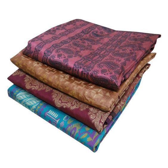 $47.99 Wholesale Lot of 4 Vintage Saree Polyester Sari by VintageHaat