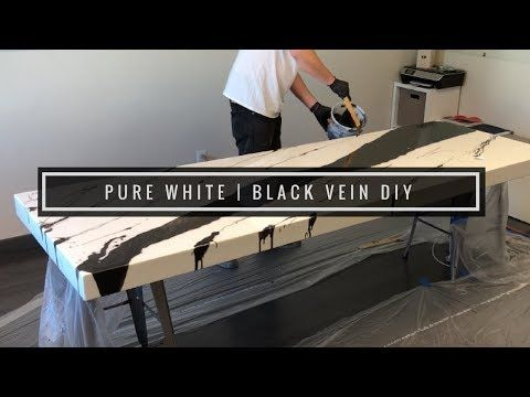 Epoxy Coating In Pure White With Huge Black Vein How To Diy