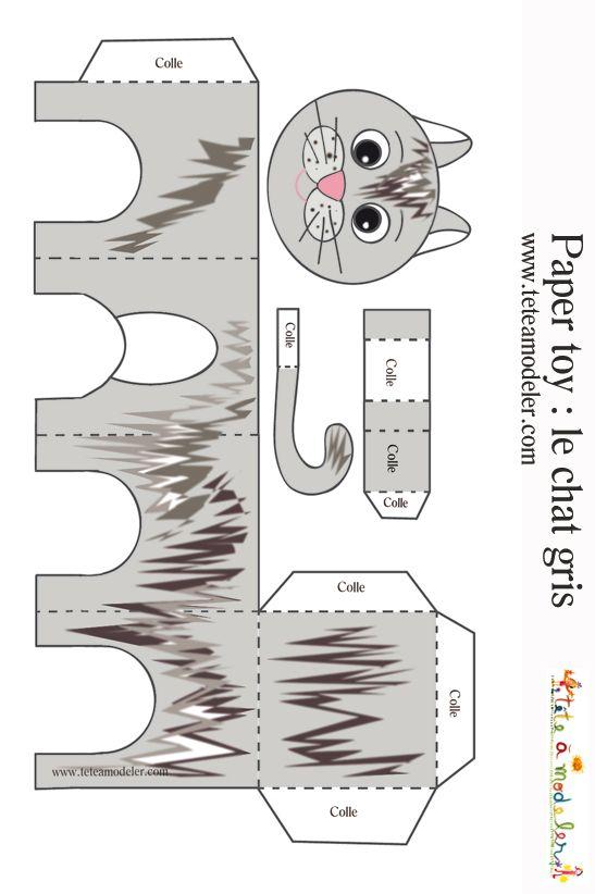 Paper toy chat tigr imprimer t te modeler jouets collage et jouets en papier - Decoupage collage a imprimer ...