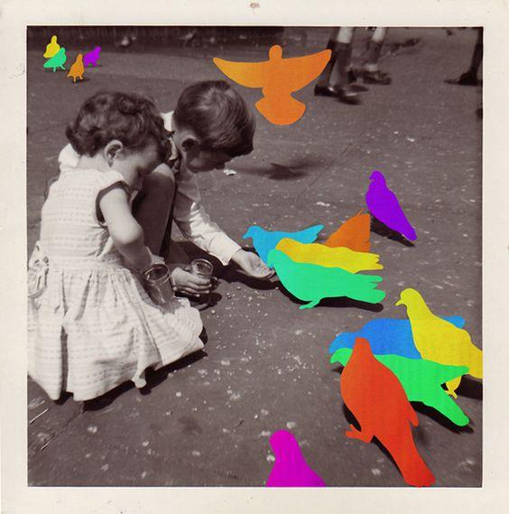 """O mundo da vida cotidiana? Entediante. Insípido. Em preto e branco.    Esse parece ser o ponto de partida para Hayley Warnham no projeto Everything is Beautiful, no qual a artista britânica trabalha sobre fotografias para instaurar um mundo de cores vívidas. Impondo formas simples e cores sólidas sobre as nuances da realidade fotografada, Warnham esconde parte do que deseja mostrar e encontra nessa tensão fantasiosa a única maneira de afirmar que """"tudo é belo""""."""