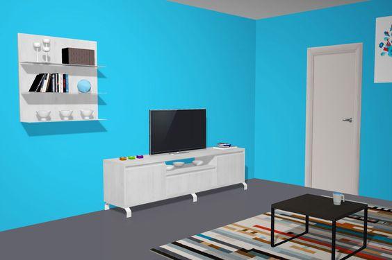 Salón moderno con un mueble para la Televisión muy actual