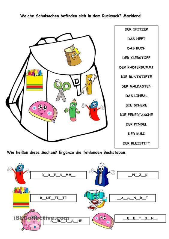 Arbeitsblatt Meine Schulsachen : Pinterest ein katalog unendlich vieler ideen