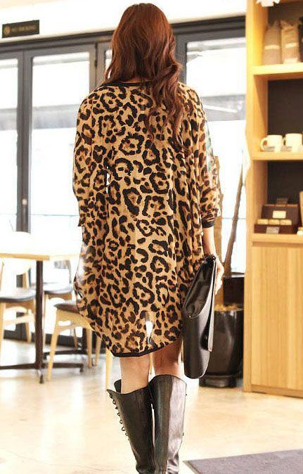 Stylish Leopard Print quarter Sleeve Chiffon Cardigan