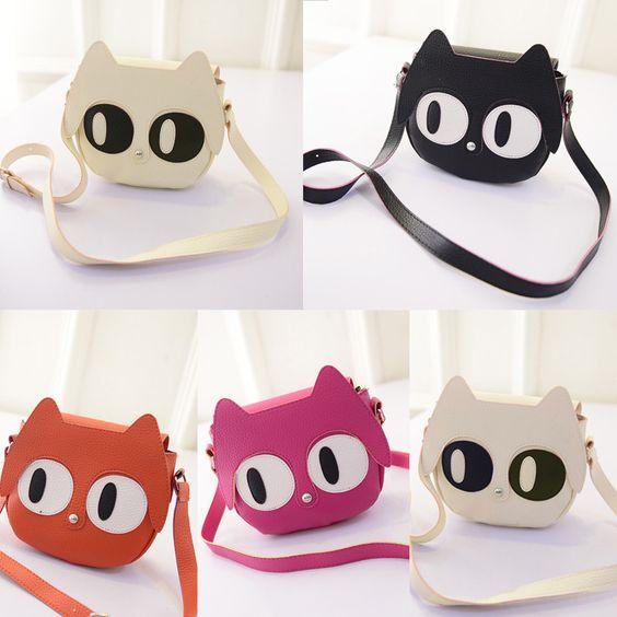 #Fashion_Women_Shoulder_Bag PU Leather Cute Cat Big Eyes Mini Messenger Bag Handbag