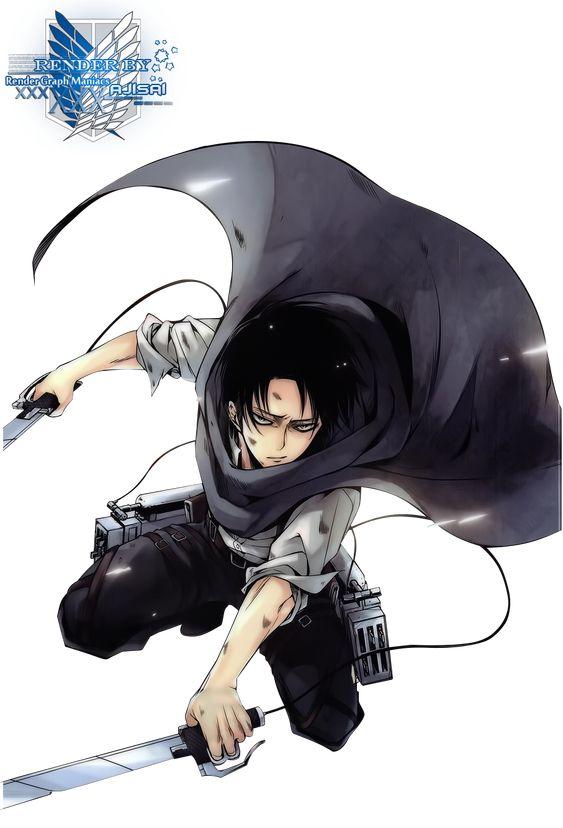 Render Anime and Manga - Renders Shingeki No Kyojin Rivaille Levi Cape Verte Sabre Garcon