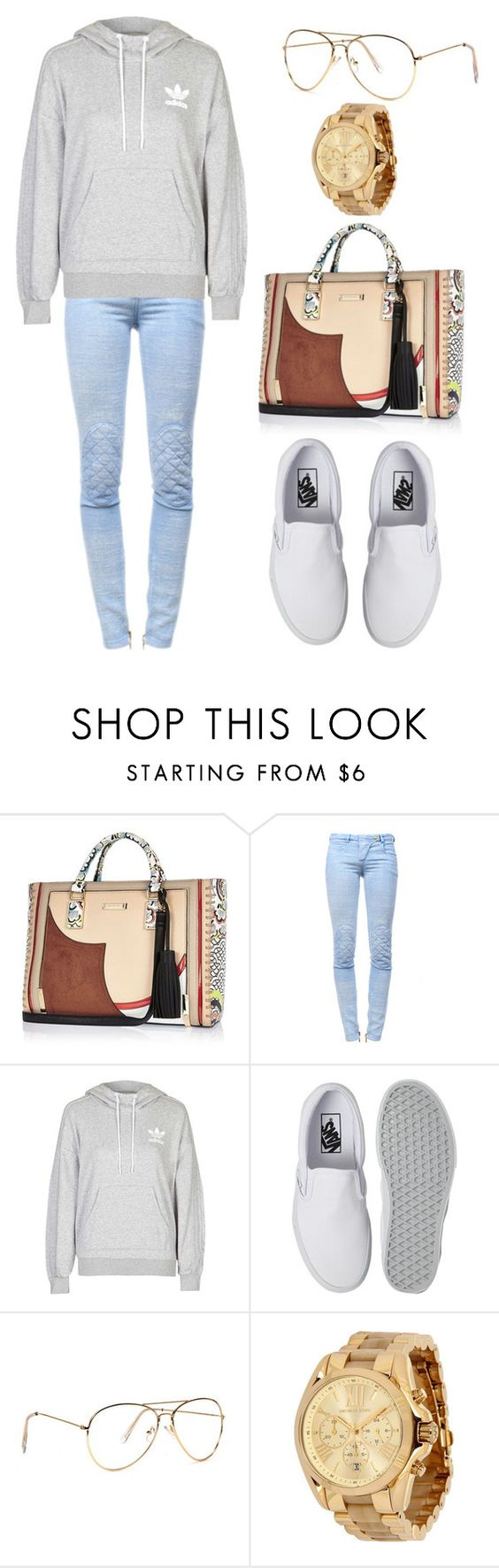 """""""Untitled #2504"""" by princessceairra ❤ liked on Polyvore featuring River Island, Balmain, adidas, Vans and Michael Kors"""