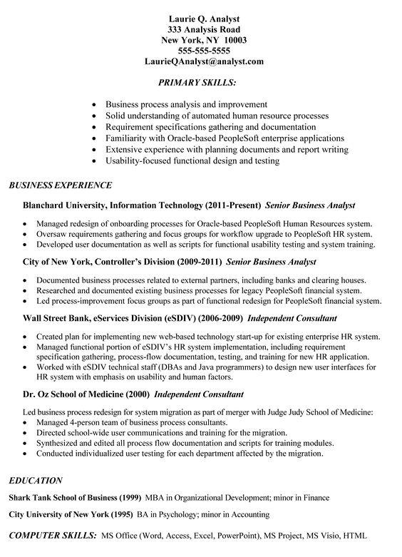 Example Of Business Analyst Resumes - http\/\/wwwresumecareerinfo - process consultant sample resume