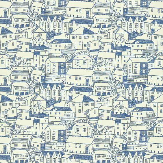 Sanderson UK wallpaper design 'St Ives' in indigo / ivory