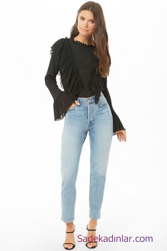 Siyah Gomlek Kombinleri Bayan Mavi Kot Pantolon Siyah Uzun Kol Firfir Detayli Gomlek Siyah Topuklu Ayakkabi Moda Pantolon Moda Trendleri