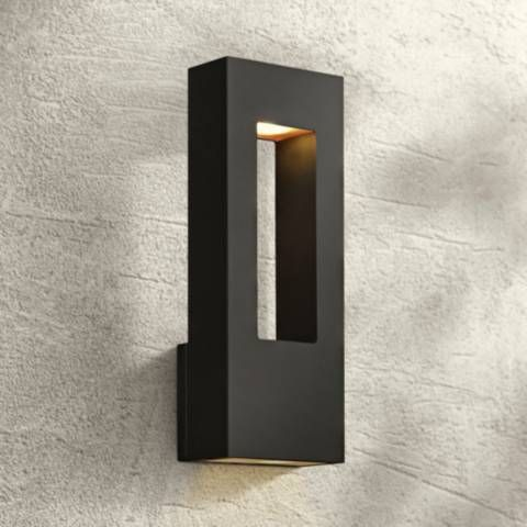 Atlantis 16 H Black And Frosted Glass Led Outdoor Wall Light U2409 Lamps Plus Wall Lights Outdoor Wall Lighting Led Outdoor Wall Lights