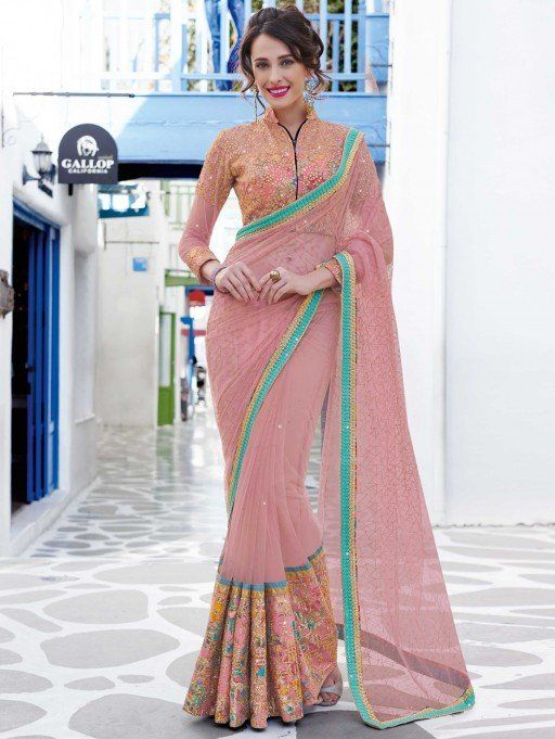 Peach Net Saree with Embroidery Work