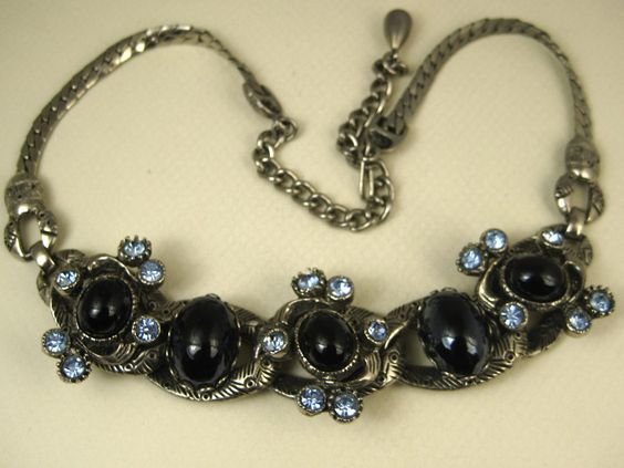 Rare Selro Vintage Unsigned Blue Rhinestone Black Cabochon Necklace ~ from gildedroom on Ruby Lane