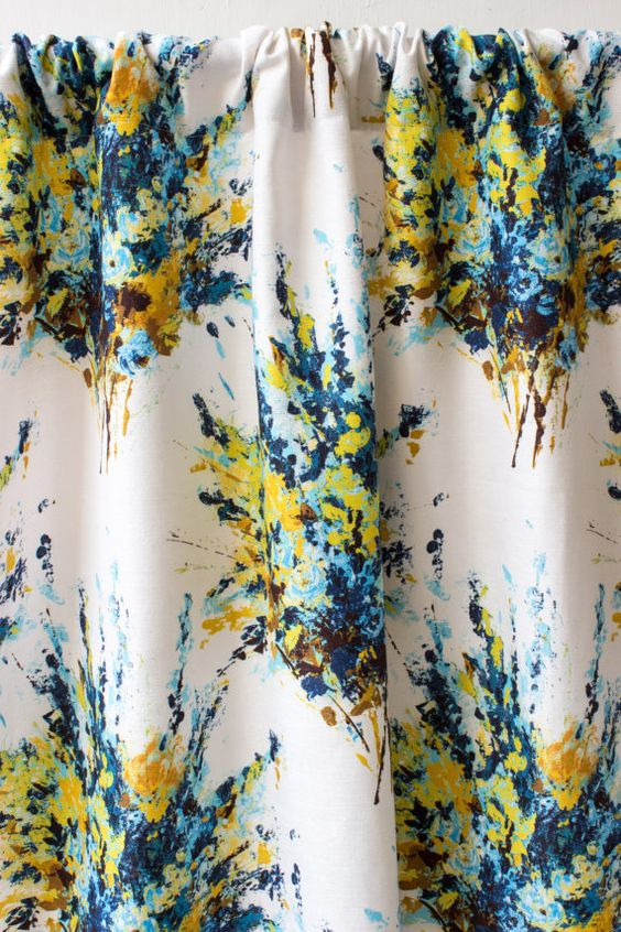 Blackout Curtains blackout curtains 63 : Oil Paint Blue Yellow Window Curtain Panels, Custom Silk Curtains ...