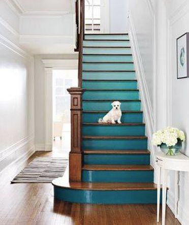 high gloss, colorful stair risers, natural stained wood treads