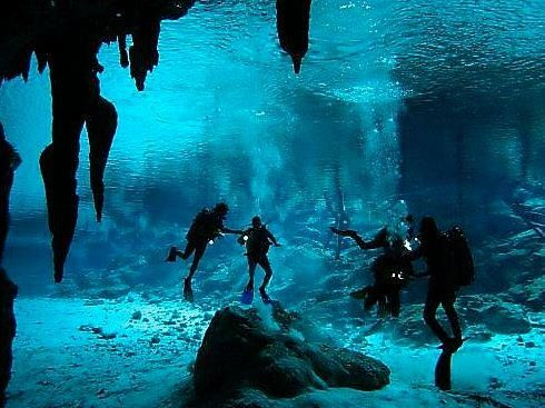 A solo 30 minutos de Isla Mujeres puedes practicar buceo de alto nivel en la Cueva de los Tiburones Dormidos, en donde puedes observar a estos magníficos animales quedarse inmóviles por varias horas.  --- Just 30 minutes away from Isla Mujeres you can practice high level diving in the Cave of the Sleeping Sharks, where you can watch these magnificent animals remain motionless for several hours. — at Isla Mujeres.