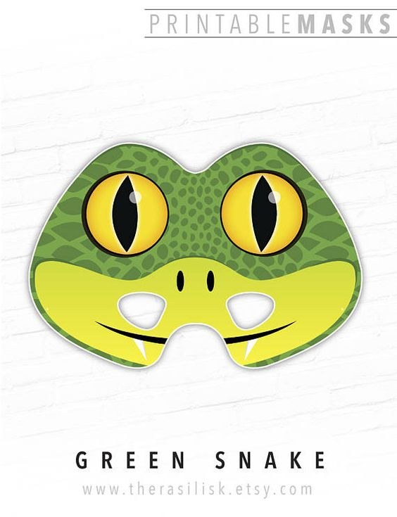 Green Snake Printable Mask Animal Mask Halloween Mask Photo