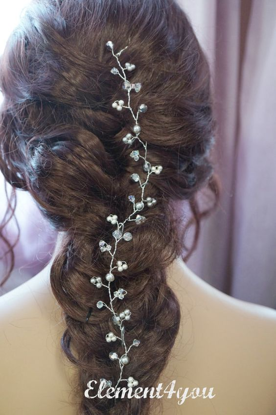 Bridal hair vines Wedding hair accessory Silver by Element4you