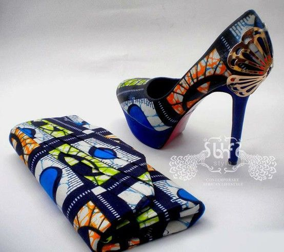 matching kitenge high heel shoe & purse ~Latest African Fashion, African women dresses, African Prints, African clothing jackets, skirts, short dresses, African men's fashion, children's fashion, African bags, African shoes ~DK: