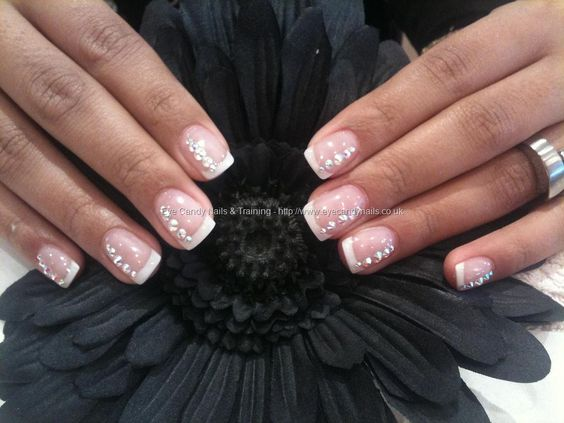 White+tips+with+swarovski+crystal+nail+art