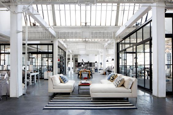 Loft space with living room set up and skylights as the ceiling