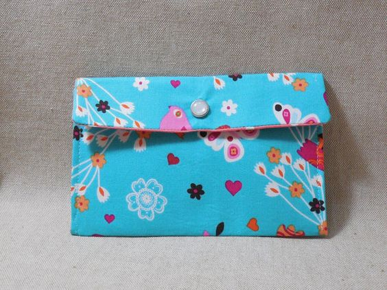 Lovely Blue Fabric Pouch Made With Bird Inspired Fabric