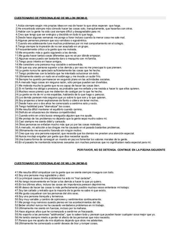CUESTIONARIO DE PERSONALIDAD DE MILLON (MCMI-II) 1.Actúo siempre según mis…